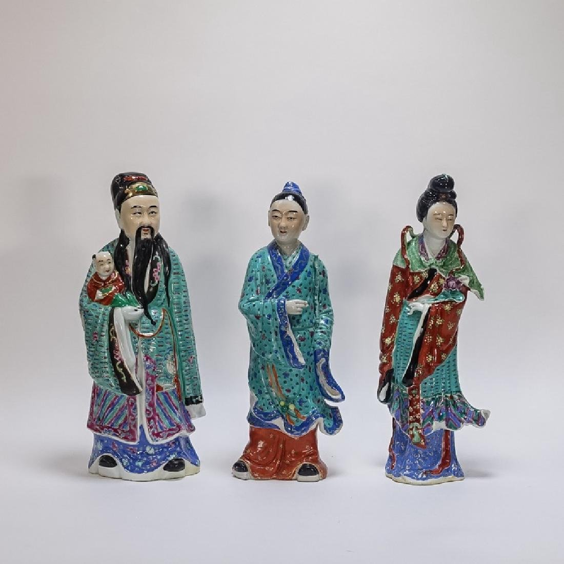 3 Chinese Famille Rose Porcelain Immortal Statues