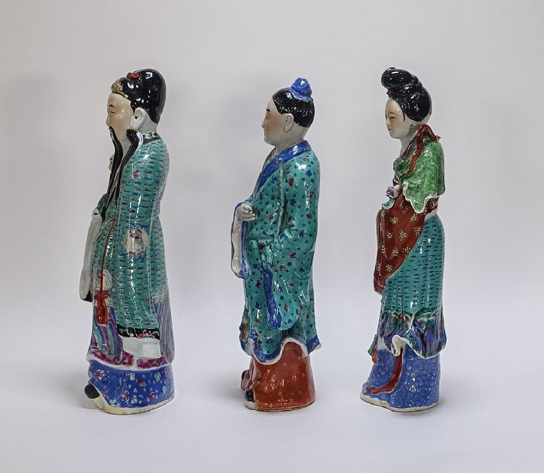 3 Chinese Famille Rose Porcelain Immortal Statues - 2