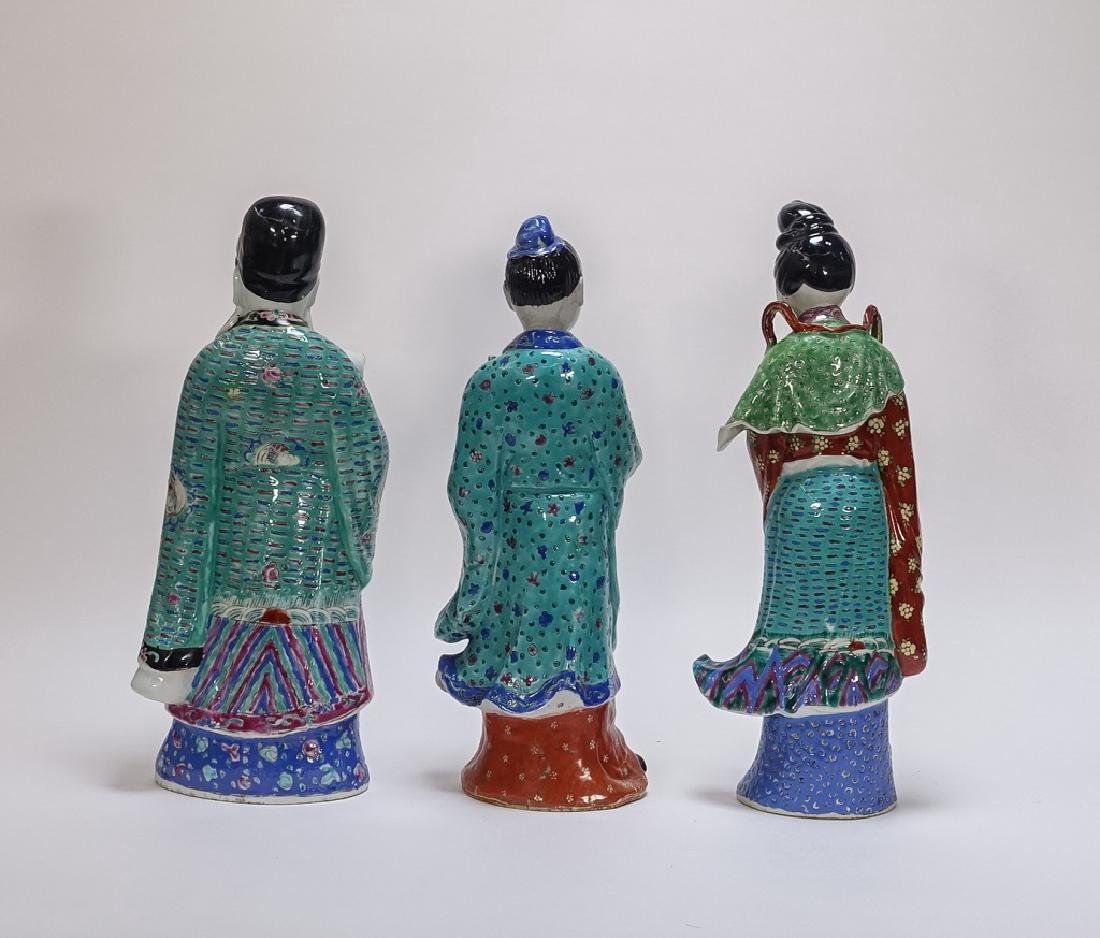 3 Chinese Famille Rose Porcelain Immortal Statues - 3