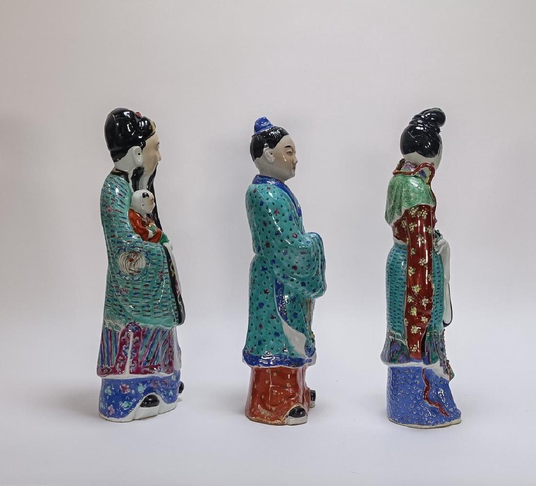 3 Chinese Famille Rose Porcelain Immortal Statues - 4