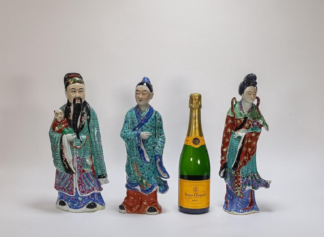 3 Chinese Famille Rose Porcelain Immortal Statues - 9