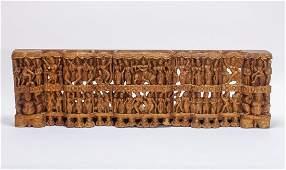 Indian Hindu Carved Wood Frieze Of Vishnu