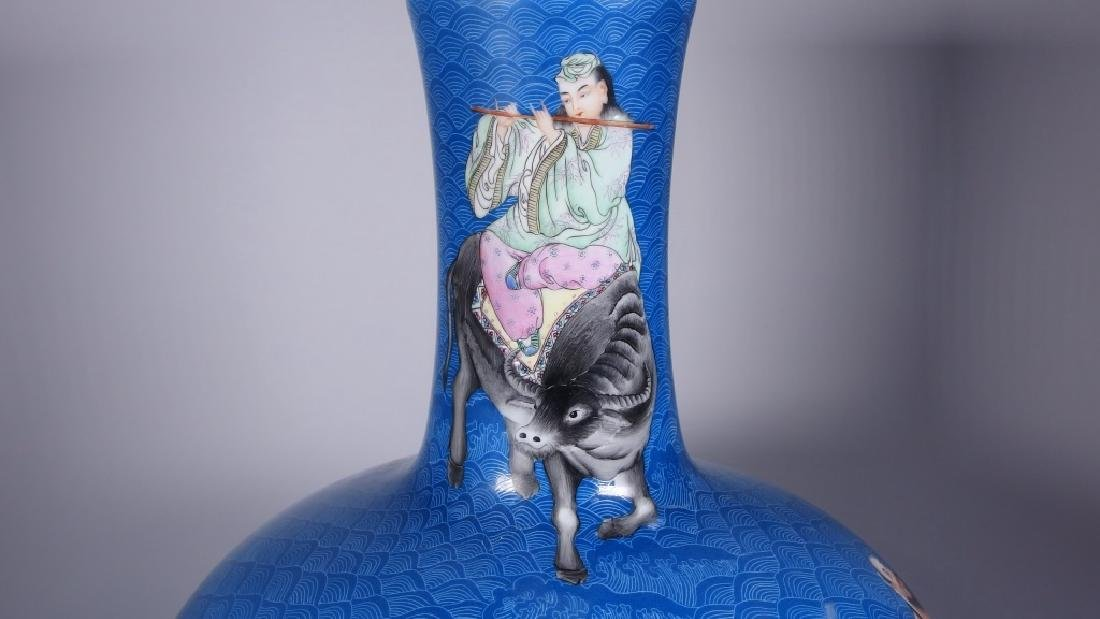 LG Chinese Porcelain Blue Immortals Globular Vase - 8