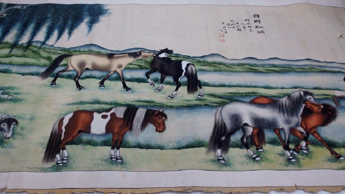 Chinese Qing Horse Landscape Scroll Painting