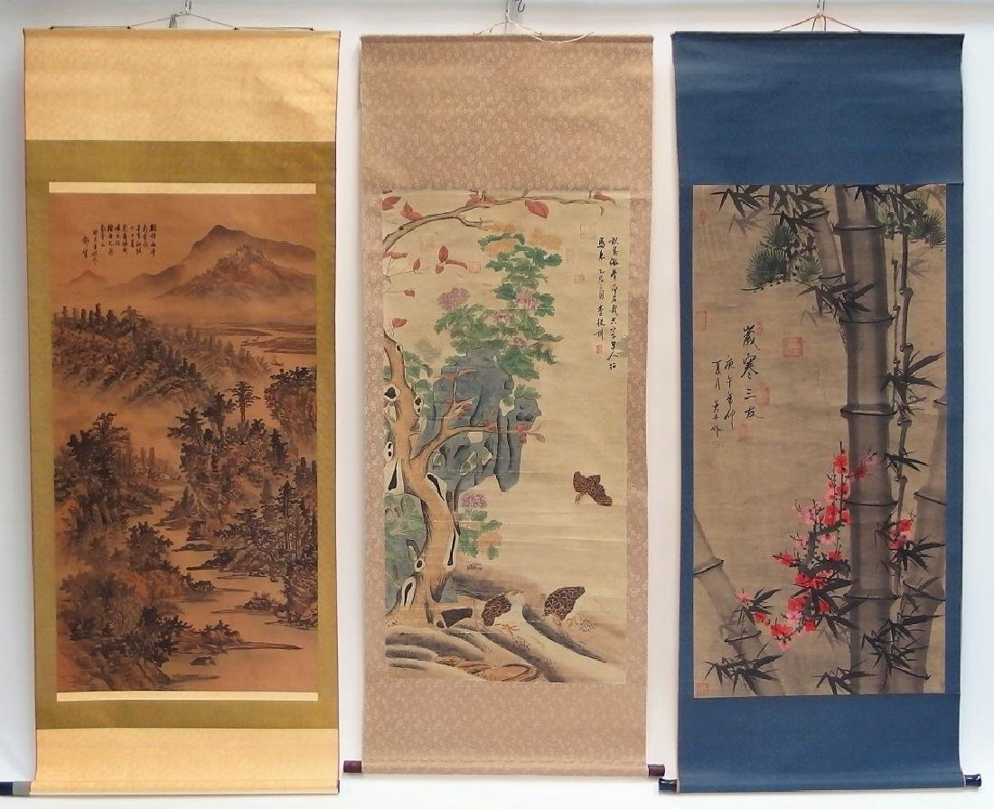 3 Chinese and Asian Landscape Foliate Bird Scrolls