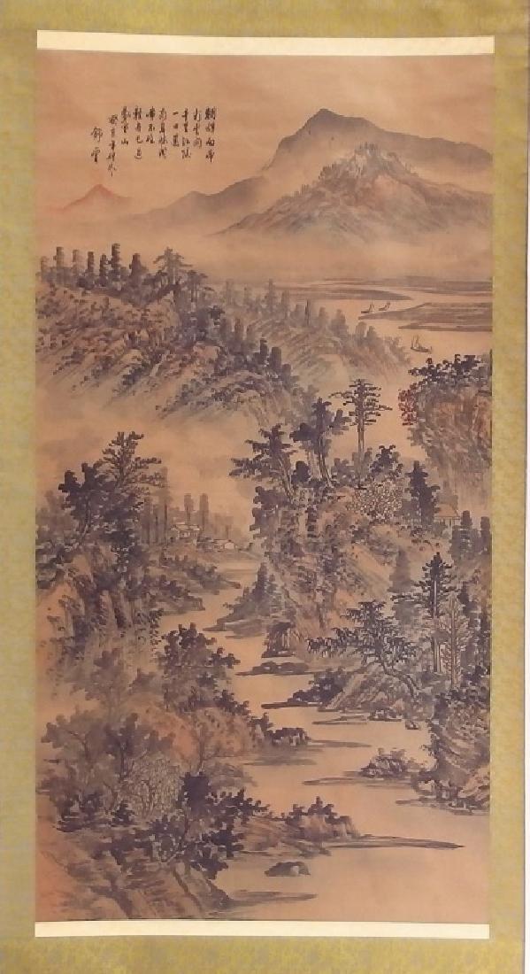3 Chinese and Asian Landscape Foliate Bird Scrolls - 2