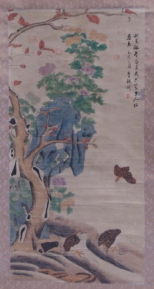 3 Chinese and Asian Landscape Foliate Bird Scrolls - 4