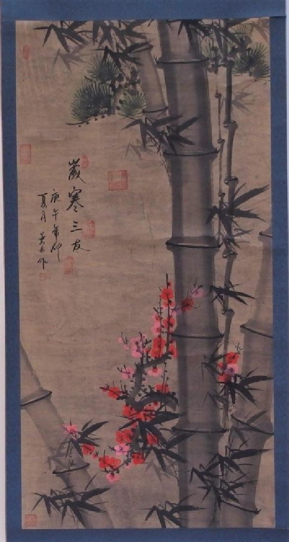 3 Chinese and Asian Landscape Foliate Bird Scrolls - 6