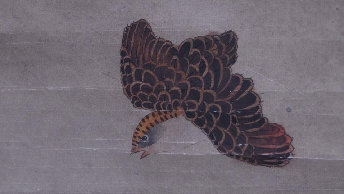 3 Chinese and Asian Landscape Foliate Bird Scrolls - 8