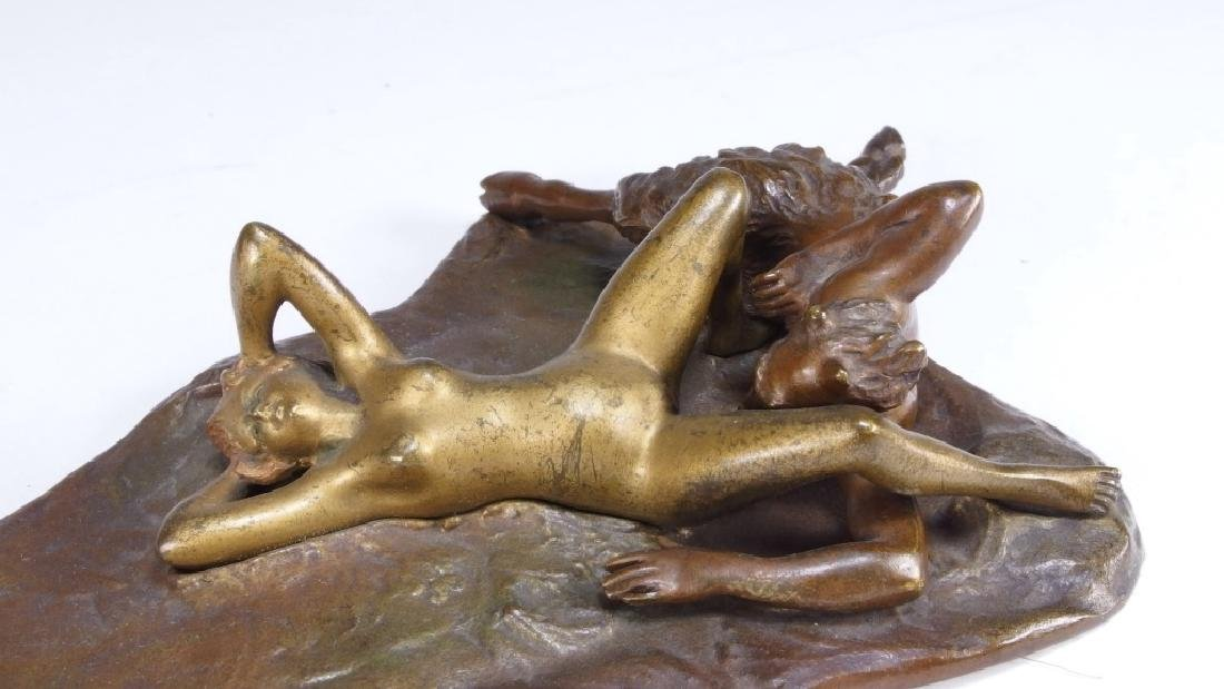 Namgreb Vienna Bronze Figure of Satyr and Female - 2