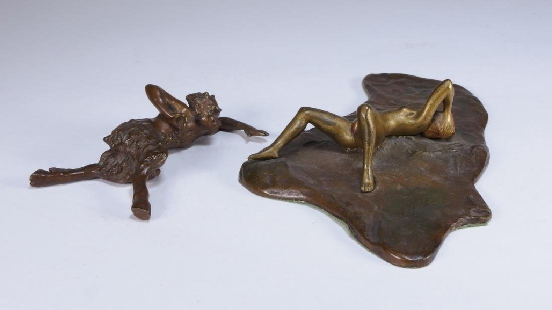 Namgreb Vienna Bronze Figure of Satyr and Female - 4