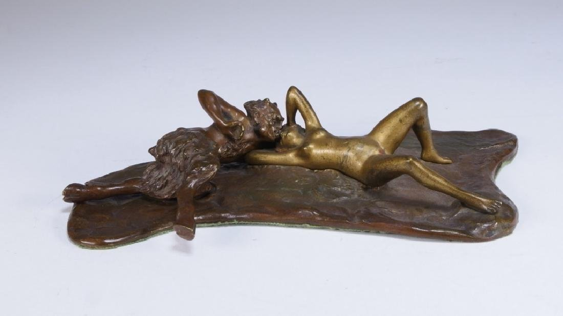 Namgreb Vienna Bronze Figure of Satyr and Female - 5