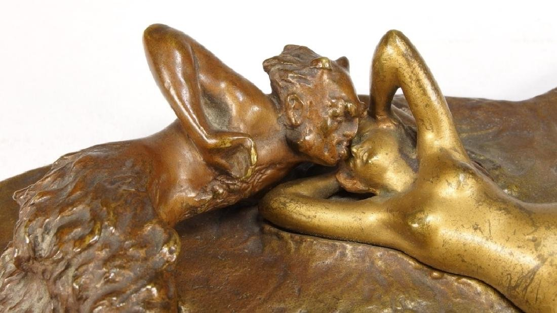 Namgreb Vienna Bronze Figure of Satyr and Female - 6
