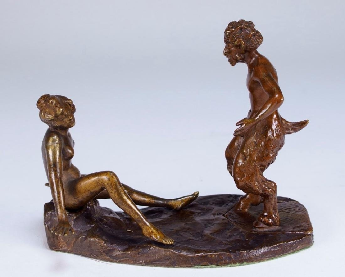 Namgreb Erotic Bronze Figure of Satyr and Female