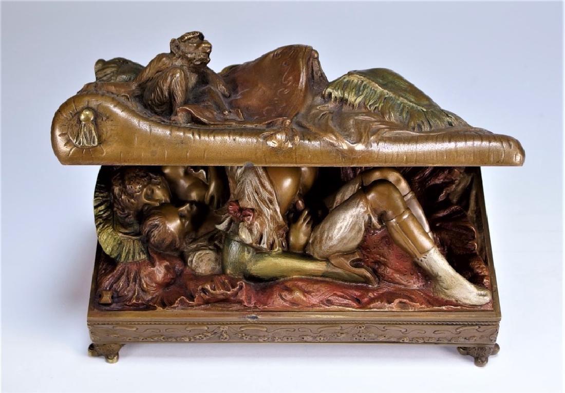 Bruno Zach Erotic Polychrome Bronze Casket