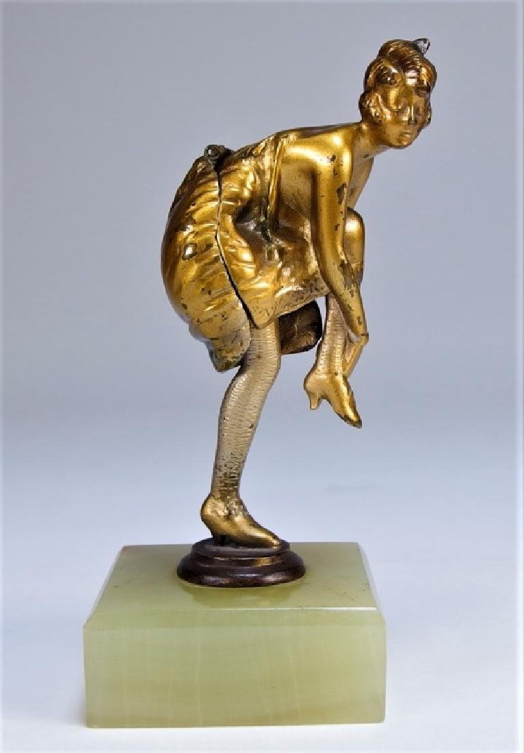 Bruno Zach Gilt Bronze Mechanical Female Sculpture