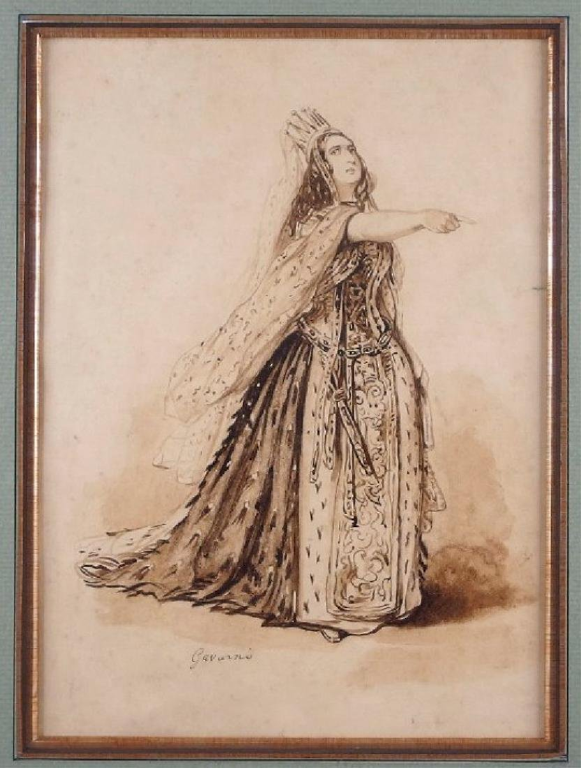 Paul Gavarni Pen Ink Drawing of Marguerite Georges