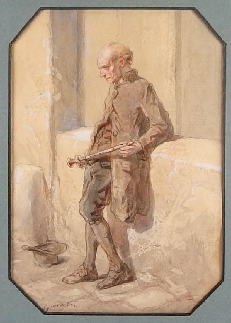 Paul Gavarni Watercolor Painting of Elder Musician