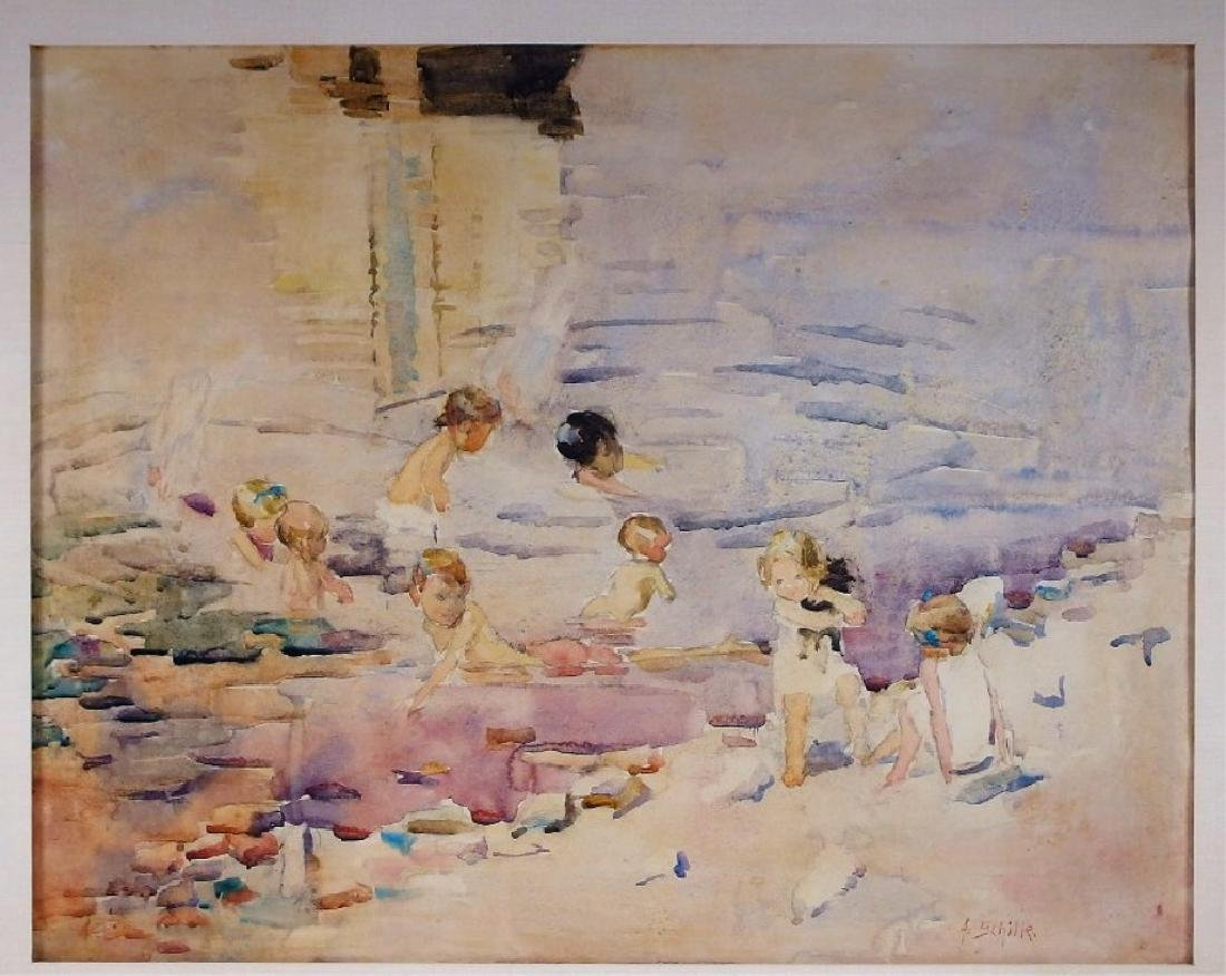 Alice Schille Beach Bathers Watercolor Painting