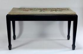 Vintage Embroidered Piano Bench