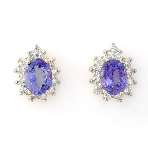 4.25 ctw Tanzanite & Diamond Earrings 14K Yellow Gold -