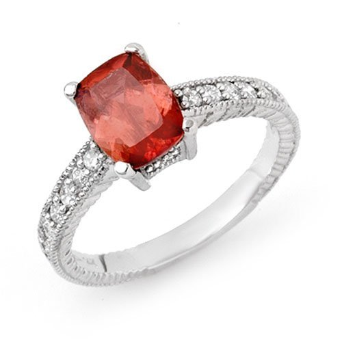 1.40 ctw Rubellite & Diamond Ring 14K White Gold -