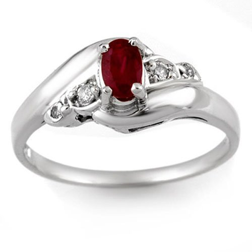 0.49 ctw Ruby & Diamond Ring Solid 14K White Gold -