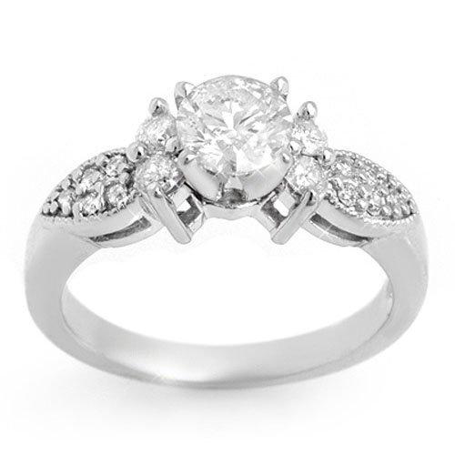 1.07 ctw Diamond Bridal Engagement Ring 14K White Gold