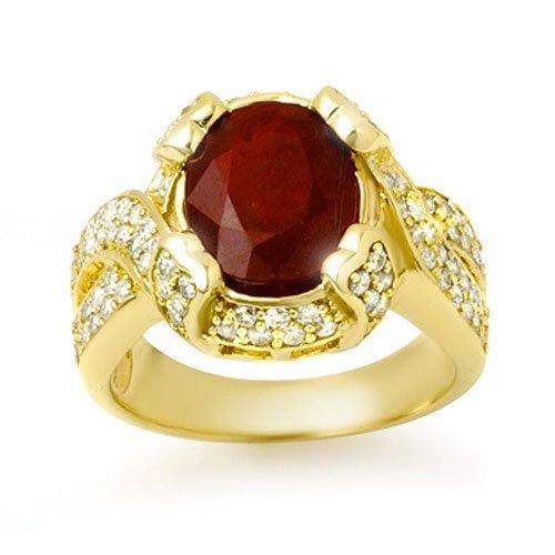 7.0 ctw Ruby & Diamond Ring 14K Yellow Gold -