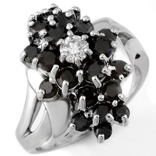 2.25 ctw Black & White Diamond Ring 10K White Gold -