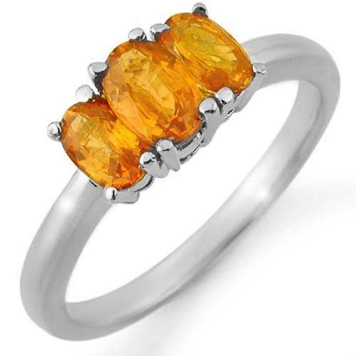 1.18 ctw Orange Sapphire Ring 18K White Gold -