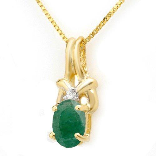 1.02 ctw Emerald & Diamond Pendant 10K Yellow Gold -