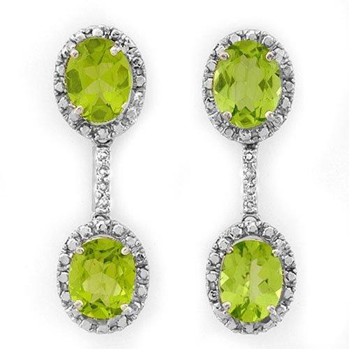 8.10 ctw Peridot & Diamond Earrings 14K White Gold -