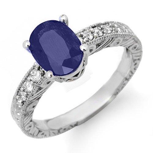 2.58 ctw Blue Sapphire & Diamond Ring 14K White Gold -