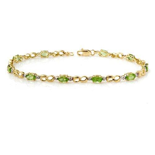 2.26 ctw Peridot & Diamond Bracelet 10K Yellow Gold -