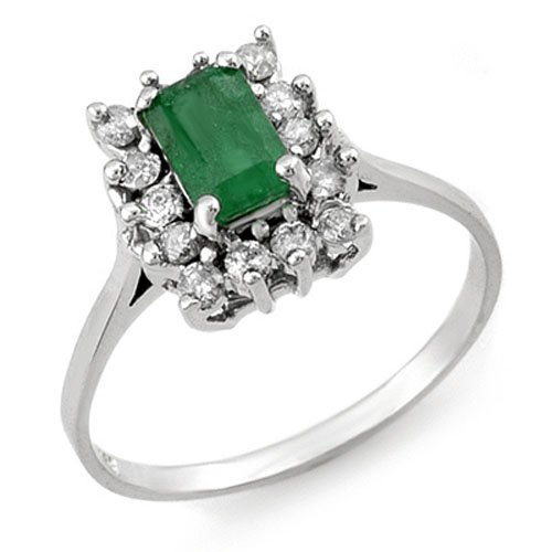 Natural 1.40 ctw Emerald & Diamond Ring 18K White Gold