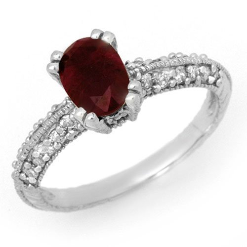 Natural 2.0 ctw Ruby & Diamond Ring 14K White Gold -
