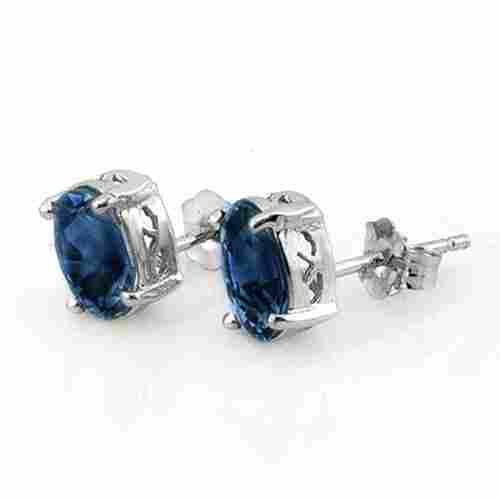 Genuine 3.0 ctw Blue Sapphire Earrings 18K White Gold -