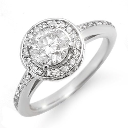 1.75 ctw Diamond Bridal Engagement Ring 18K White Gold
