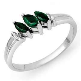0.29 ctw Emerald & Diamond Ring 18K White Gold -