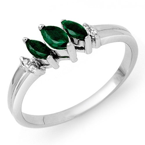 0.29 ctw Emerald & Diamond Ring 18K White Gold -