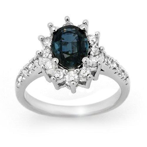 3.15 ctw Blue Sapphire & Diamond Ring 18K White Gold -