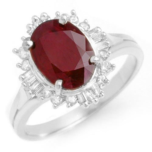 Genuine 2.55 ctw Ruby & Diamond Ring 18K White Gold -