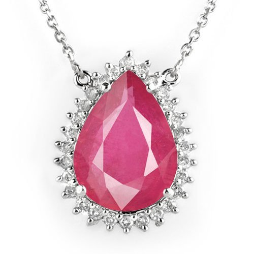 Natural 7.25 ctw Ruby & Diamond Necklace 18K White Gold