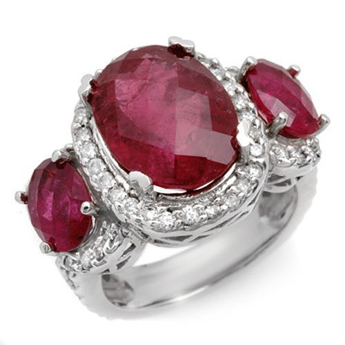 Natural 10.0 ctw Rubellite & Diamond Ring 10K White