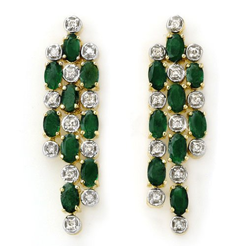 Genuine 4.03 ctw Emerald & Diamond Earrings 14K Yellow