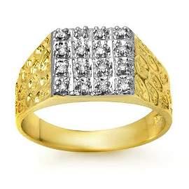 Natural 0.25 ctw Diamond Men's Ring 10K Yellow Gold -