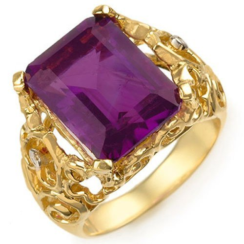 Natural 8.03 ctw Amethyst & Diamond Ring 10K Yellow