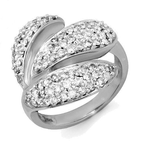Natural 1.0 ctw Diamond Ring 14K White Gold -