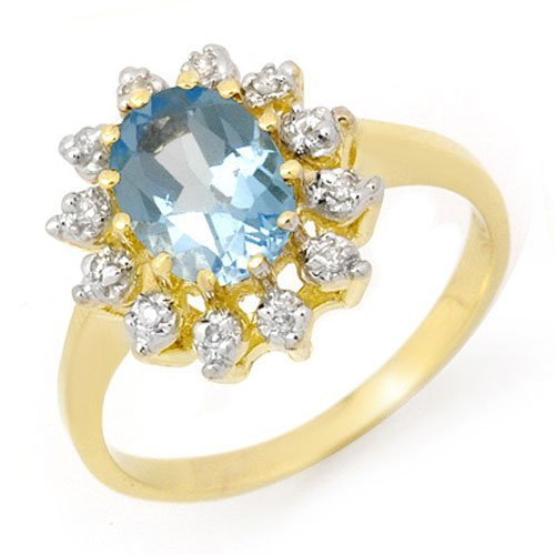 Natural 1.51 ctw Blue Topaz & Diamond Ring 10K Yellow